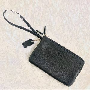 Coach Double-Zip Leather Wristlet